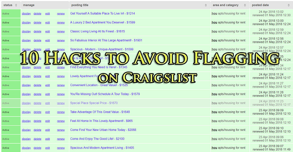 10 Hacks to Avoid Flagging on Craigslist in 2018 | Outsource 2